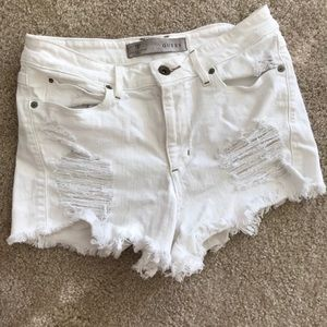Guess High Rise Shorts Destroyed White